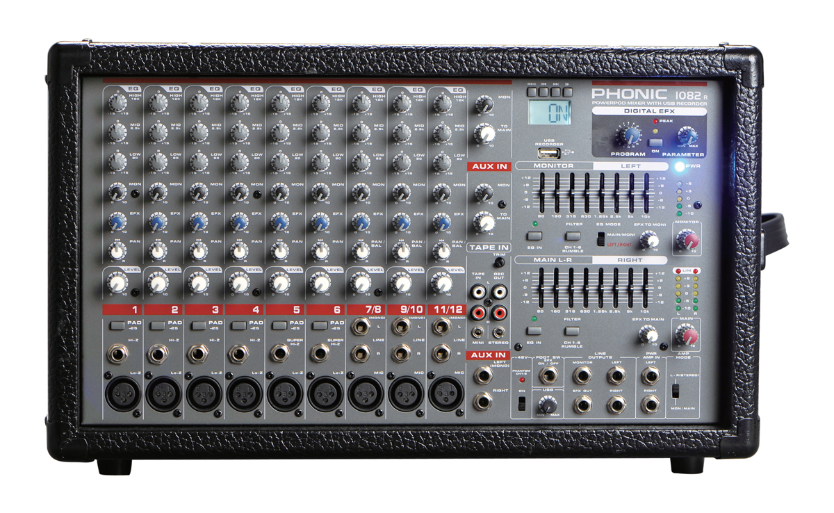 Phonic 1082R 1600W 10-Channel Powered Mixer w/DFX + USB recorder