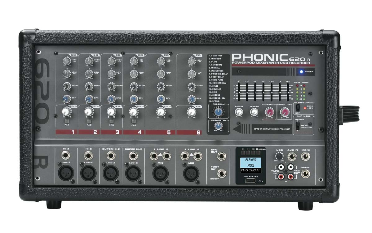 Phonic 400W 6-Channel Powered Mixer w/DFX+USB recorder