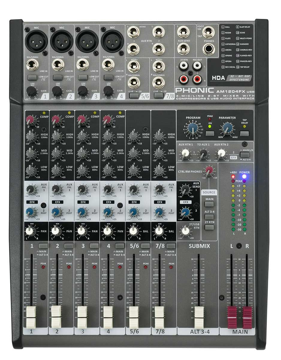 Phonic AM1204FX USB 4 Mic/Line, 4 Stereo Line Input Compact Mixer with DFX  USB Interface