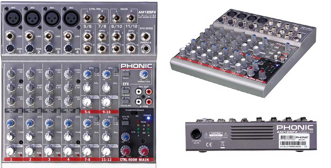 Phonic AM125FX 4-Mic/Line 4-Stereo Compact Mixer with DFX