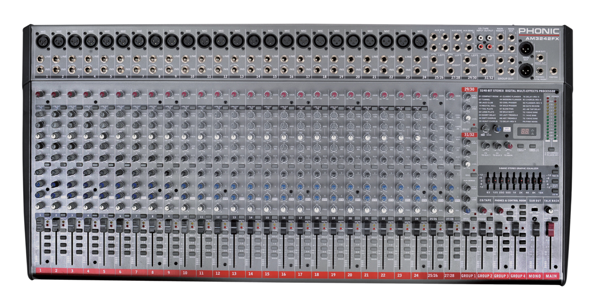 Phonic 24-Mic/Line 4-Stereo 4-Bus Studio/Live Mixer with DFX & GEQ