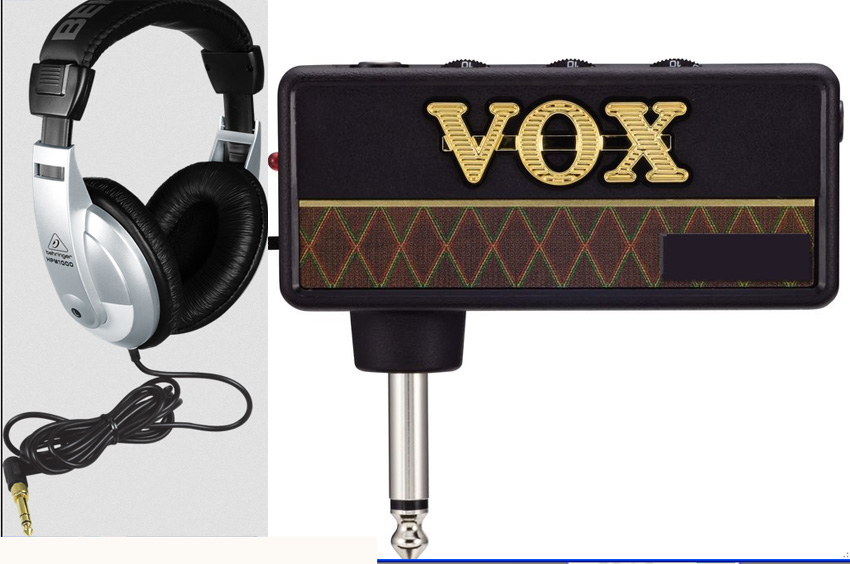 Vox amPlug Bass Headphone Amp with built-in Compressor + Behringer HPM1000 headphones
