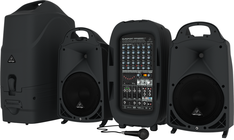 Behringer EUROPORT PPA2000BT Ultra-Compact 2000-Watt 8-Channel Portable PA System with Bluetooth Wireless Technology, Wireless M