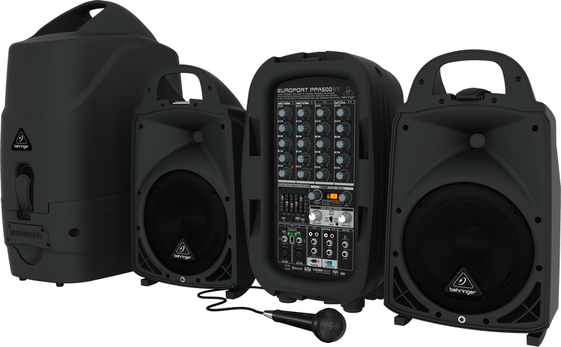 Behringer PPA500BT Ultra-Compact 500-Watt 6-Channel Portable PA System with Bluetooth Wireless Technology, Wireless Microphone O