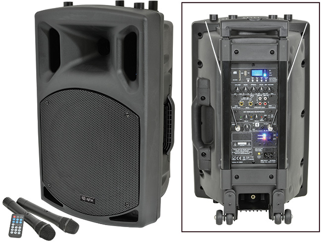 * NEW SKYTEC QX12 PA in PORTABLE PA WITH USB/SD/FM - 2 CORDELSS MICS -  BATTERY or MAINS - VIDEO - No stock available MARCH 2015