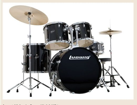 * Ludwig  Accent PLUS DELUXE  with hardware stands, pedal, throne  and 16 crash + extra 20 in ride + stand - complete. BLACK RED