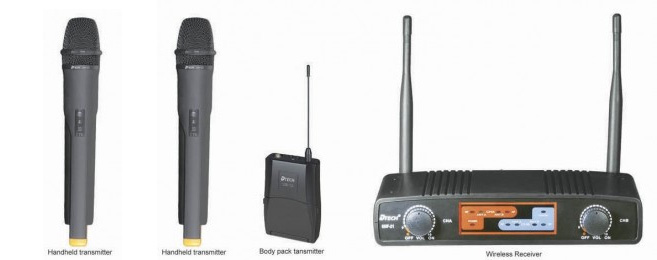 * View JOHANNESBURG DTECH  pro quality ultra high frequency DUAL wireless handheld microphones ( Encoded for non interference)