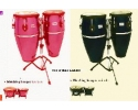 Congas Toca Fibreglass 10+11 IN w.Dbl Stand Red or Black