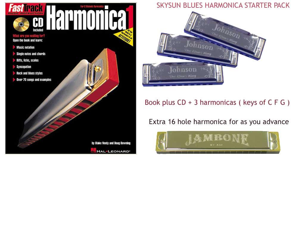 Skysun Harmonica blue starter pack - 4 harmonicas + Book +CD