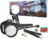 Washburn B8 banjo pack with gig bag, strap, finger picks, pitch pipe and an instructional book